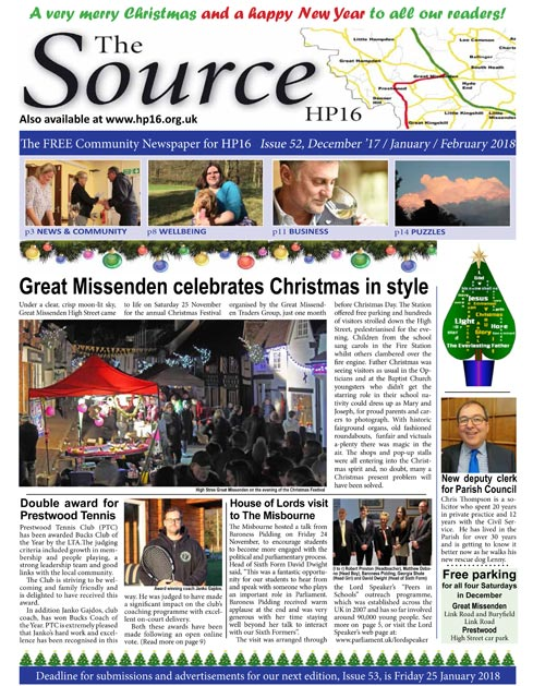 Front page of The Source HP16, Christmas 2017