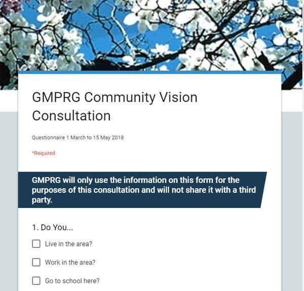 screenshot of community vision survey