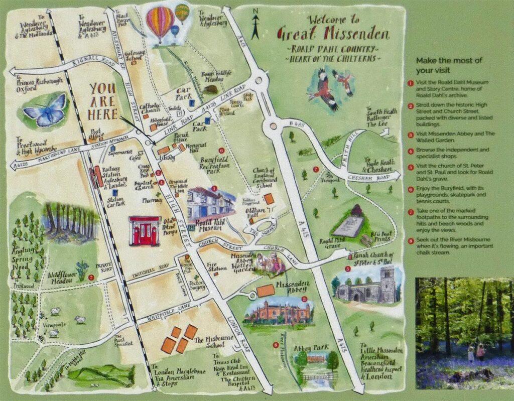 map detail great missenden information board